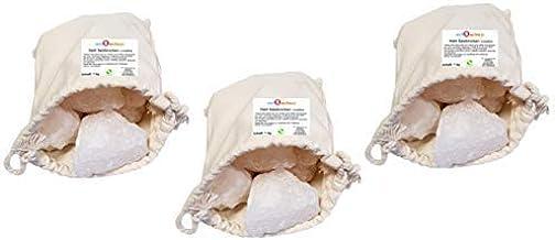 Sudorewell Halite Sel Cristal de Foothills de l'Himalaya 3 x 1,0 kg dans un sac en coton