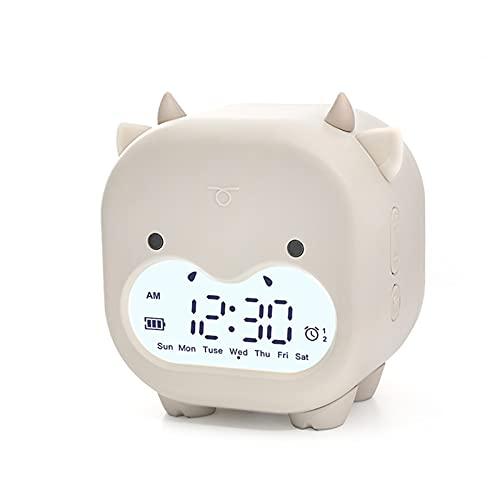 RAILONCH Despertador digital para niños, adecuado para lámpara de noche, dulce despertador, sin tictac, analógico, para niños y niñas (beige)