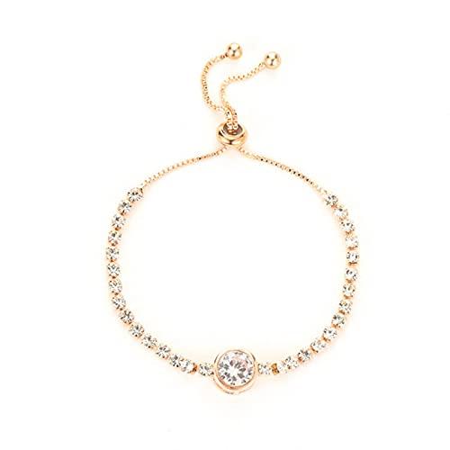 SONGK Pulsera de circón de corazón de Amor de Oro Rosa a la Moda para Mujer, Pulsera de Diamantes de imitación Simple para Mujer, joyería CZ
