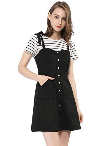 Allegra K Damen A Linie Wildleder Button Träger Minikleid Kleid Schwarz M