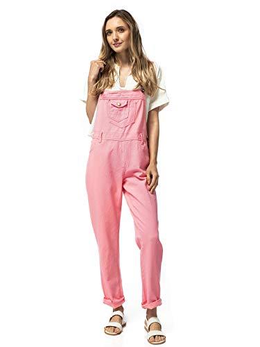 ANNA-KACI Damen Vintage Verstellbar Träger Tasche Loch Gerade Bein Denim Latzhose, Pink, M