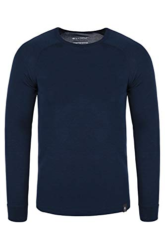 Mountain Warehouse Merino Langarm Baselayer-Thermotop für Herren - Leichtes T-Shirt, warm, antibakteriell, schnelltrocknend - Ideal bei kaltem Wetter Winter Baselayer Marineblau Large