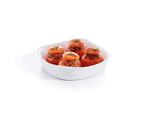 Luminarc - Plat carré Blanc Smart Cuisine Carine 250°C - Plat à Four en Verre Innovant - Léger et Extra-Résistant - Nettoyage Facile - Fabrication en France - Dimensions 20x20 cm