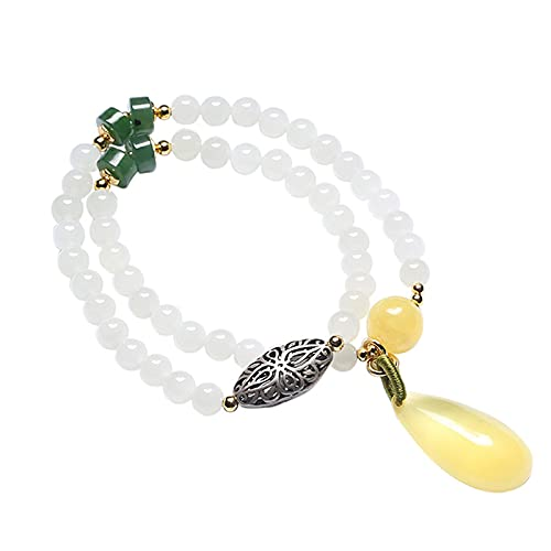 Hermoso y noble Pulsera de doble capa Hetian Jade de 6mm, pulsera de accesorios de plata antigua tallada, con brazalete de caída de cera de abejas para la joyería de la mano de las mujeres (tipo de go