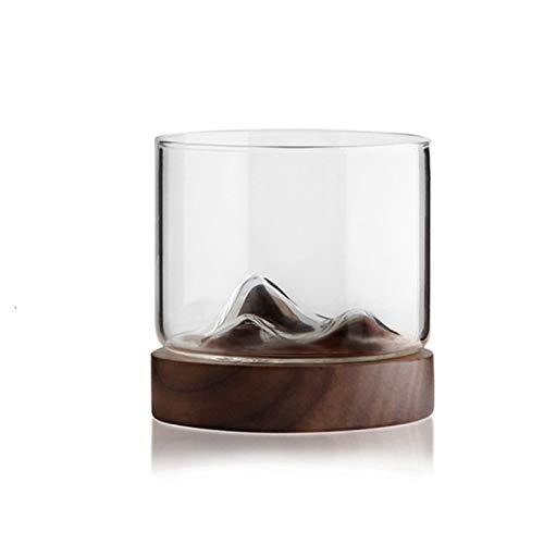 Home+ Vasos de Whisky Gafas de Whisky con Base de Madera, Copas de Vino de 12 oz, Cerveza/Taza de té para escocés, Whisky, Licor y cócteles (Size : Type2)