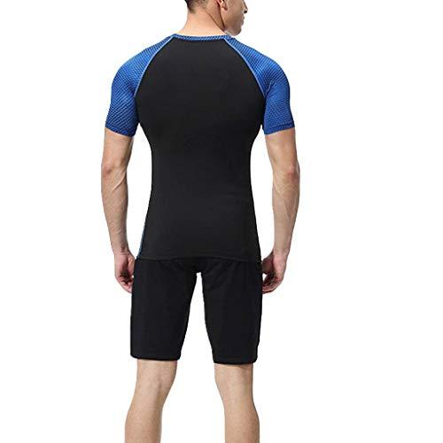 Yowablo Herren T-Shirt Kurzarmshirt Oversize Basic O-Neck Elastic Fitness Kurzes T-Shirt Fast Drying Tops Hosen Sport Enger Anzug (XXL,1Blau)
