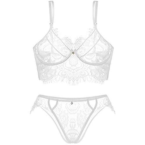 CheChury Lencería Sexy Erotica Babydoll Encaje Ropa Interior para Mujer G-String Ropa de Dormir Sujetador y Braguita Transparente Encaje Conjunto
