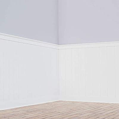 """Ekena Millwork WPKP40NGD 40"""" Height Deluxe Shiplap with a Nickel Gap 8' Length PVC Wainscoting Kit, 41-5/8"""""""