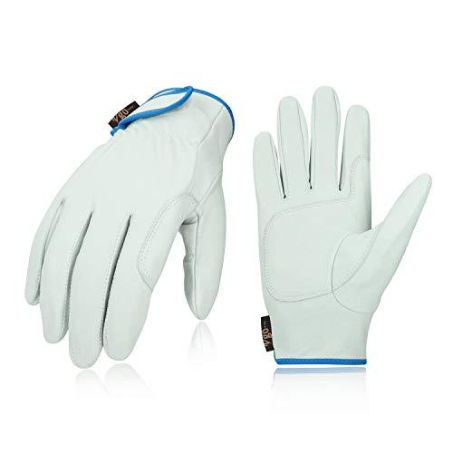 Vgo 革手袋 グローブ 牛表革 リガー手袋 掌当て付 耐磨耗 作業用 園芸 アウトドア キャンプ (Size L,白,CA7136-AB)