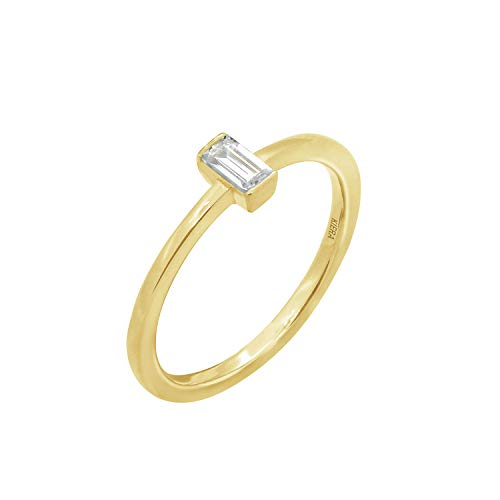 KIERA COUTURE RING BAR White Baguette Cut Yellow Gold Plated Sterling Silver Solitaire Daity Ring Size 7