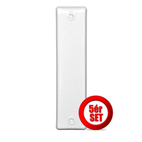 5er SET Gurtwicklerblende geschlossen Lochabstand 160mm Blende für Gurt, Abdeckplatte Farbe Weiß, ALU