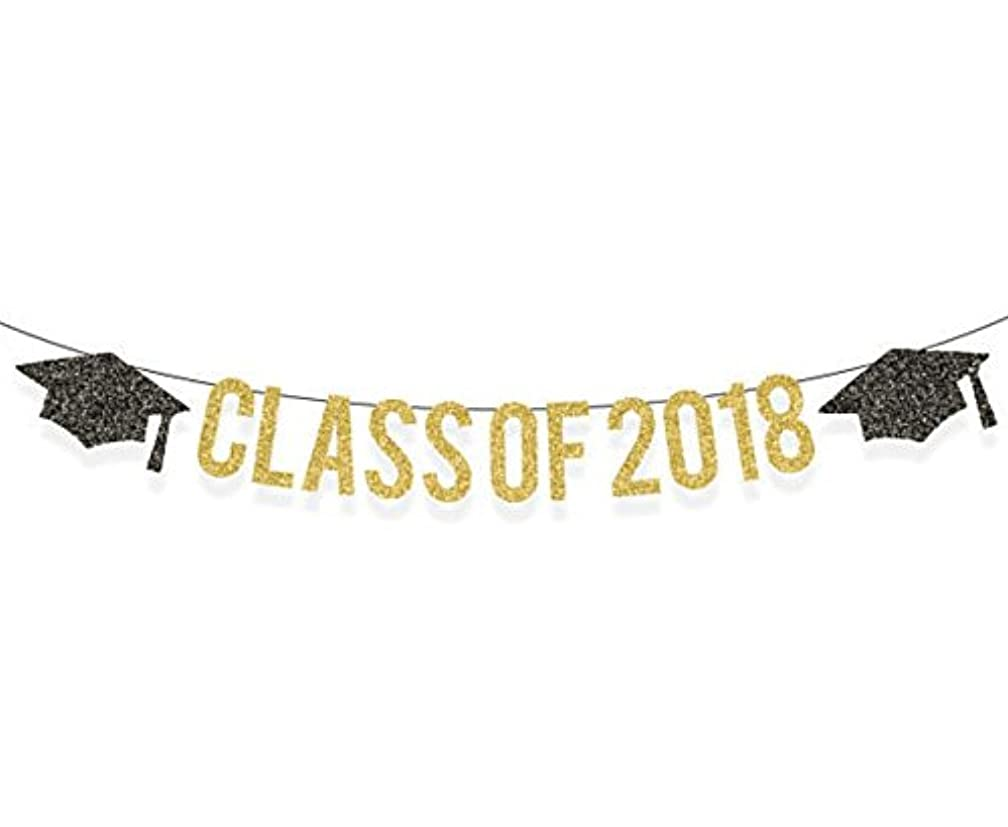 Astra Gourmet Gold Glittery Class of 2018 Banner Graduation Cap Garland,for Graduation/Grad Party Decorations
