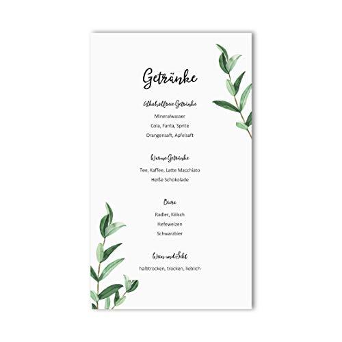 10 Menükarten Hochzeit zum Bedrucken Getränkekarten Tischdeko Hochzeit Platzkarten (Eucalyptus)