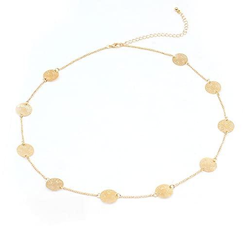 QiuYueShangMao Hohl Geschnitzte Anhänger im europäischen und amerikanischen Stil, beliebte Gold- und Silberdraht-Trendhalsketten für Frauen Freundschaftshalskette