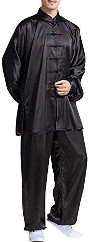 HLZY Uniformes Tradicionales Chinos de Tai Chi Kung Fu Tai Chi Uniforme para Hombres Mujeres Tradicional Ropa China Kung Fu Suits Conjuntos de Artes Marciales (Color : Black, Size : M=TagL)