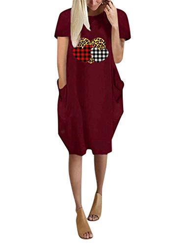 ORANDESIGNE Vestido para Mujer Cuello Redondo Bolsillo Manga Corta Manga Larga Dobladillo Irregular San Valentín Impresión de Amor Love Vestido Suelto Camiseta Larga B Vino Rojo XS