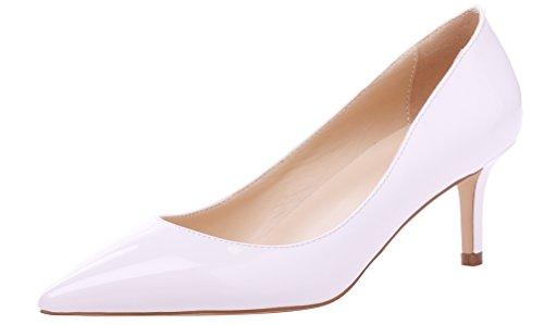 AOOAR Damen Kitten-Heel Bunt Elegante Weiß Lackleder PumpsSchuhe EU 35