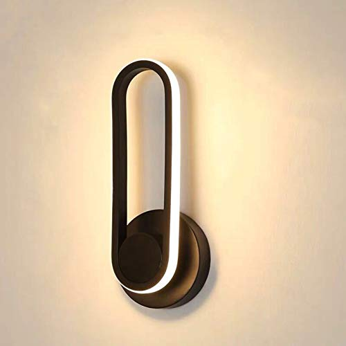 Lámparas de pared LED modernas, apliques de metal giratorios, luz elíptica, 330 grados, tres tipos de regulables, 12w 30 × 12 × 9cm, voltaje 220v para sala de estar, dormitorio, pasillo (negro)