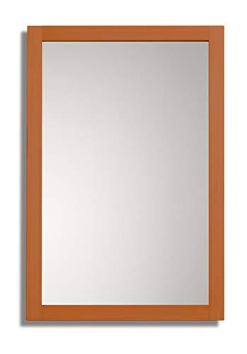 Espejo de Baño, para el salón o el recibidor Frame con Marco Decorativo de Madera de 45 mm Fabricado en Madera Natural para Colgar en Pared en Vertical u Horizontal de 60x90 cm en Cerezo