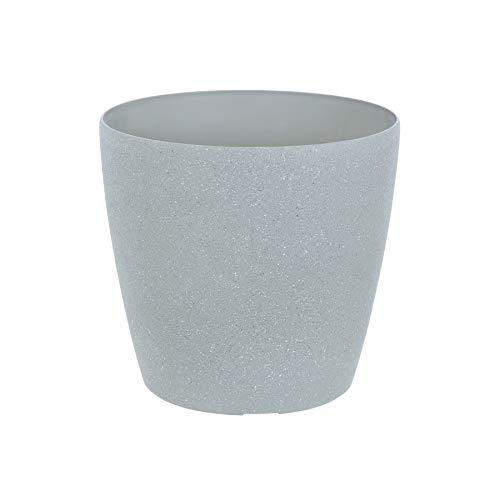 Round Plant Pot With Sandstone Effect Plastic Garden Home Gardening Planter Accessory For Flowers Herbs Trees Plants Indoor/Outdoor Use Patio Decking Convervatory Lawn Hallway Windowsills - Grey 20cm