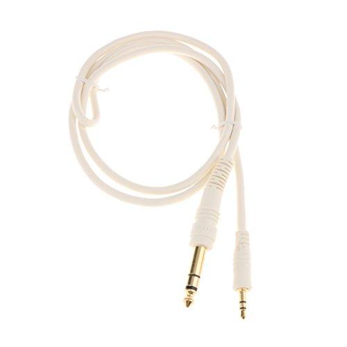 #N/A/a Enchufe Estéreo TRS de 3,5 Mm (1/8 Pulgadas) a Cable Adaptador de Audio TS Mono Jack de 6,35 Mm (1/4 Pulgadas), Cable de Audio Divisor en Y - 1 Pieza - Blanco-1m