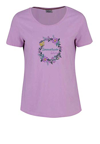 Luis Trenker Kurzarm T-Shirt Clelia Rundhals Blumen Schriftzug Hellrosa Größe XL