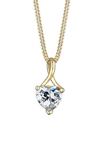 Elli PREMIUM Halskette Damen Herz Infinity mit Zirkonia Steinen in 585 Gelbgold
