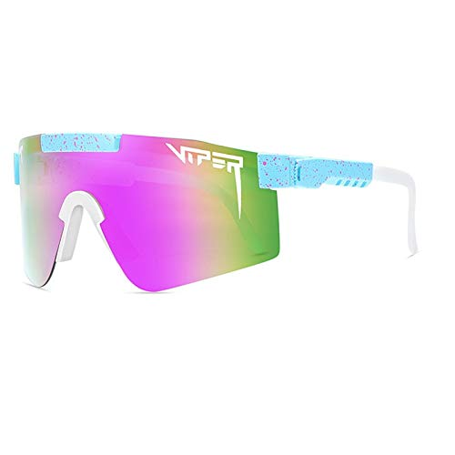 HUALUWANG Pit Viper Polarizado Gafas de Sol para Hombres y Mujeres Lentes de Espejo de Color Retro Anti-UV Gafas de Sol de Espejo de Playa (Color : A)