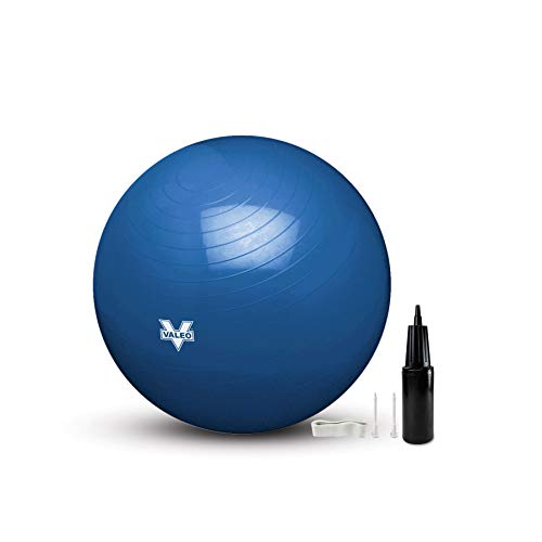 Valeo Exercise Body Ball - Professional Grade Anti-Burst Fitness, Balance Ball for Pilates, Yoga, Stability Workout & Training Physical Therapy, 65CM/26IN, BLUE