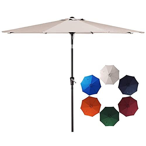 SMLIXE 9ft Patio Garden Table Umbrellas Outdoor Market Sunbrella With Push Button Tilt and Crank Lift System UV Protection Waterproof Sunproof Beige