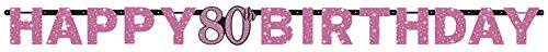 Amscan 9901750 Partyketting Celebration 80 jaar, zwart, roze
