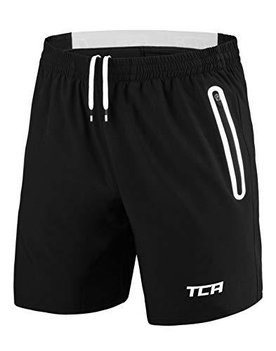 TCA Elite Tech Herren Trainingsshorts für Laufsport mit Reißverschlusstaschen - Schwarz/Weiß - M