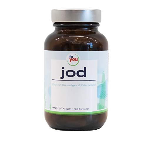 for you Jod Kapseln mit Bio Kelp Pulver aus Braunalgen und Kaliumjodid I 180 vegane Kapseln mit je 300 µg Jod I hochdosiert u. bio-zertifziert