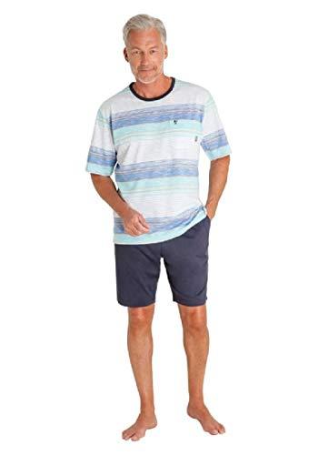 hajo Herren Schlafanzug kurz - Klima Komfort - mit Rundhalsausschnitt, Blau (Atlantik 621), 52 (L)