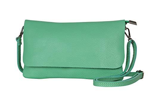 AmbraModa GLX11 – Bolso bandolera Carteras de mano clutch para mujer, de piel auténtica (Verde)