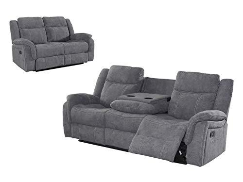 NEW Sofa Recliner Grey Fabric   Leonardo 3+2 seater   Cupholder On Armrest