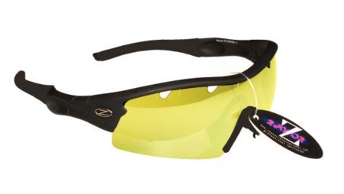 Rayzor Professionnel léger UV400 Noir Sport Wrap Ski Lunettes de Soleil, avec Un 1 Piece ventilé Lumière Améliorer Clair Jaune Anti-reflet lentille.