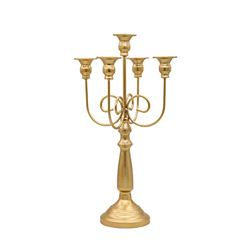 KDBEB Planchar Candelero de 5-Arms Porta Velas Decoracion en Oro Altura 16.94in/43cm Candelabros Navidad para Decoración de Mesa Vintage de Boda en Casa