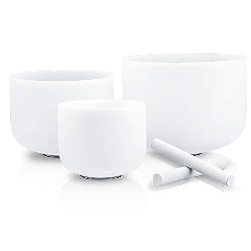 RYAN DVAN 3 pcs Sound Bowls Set of Crystal Singing Bowls 7-11 inch with Crystal Singing Bowl Mallets and O-rings (7-11 inch, 3pcs White Singing Bolws)