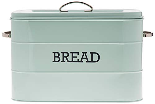 Kitchencraft Living Nostalgia Large Metal Bread Box Bin, Blue