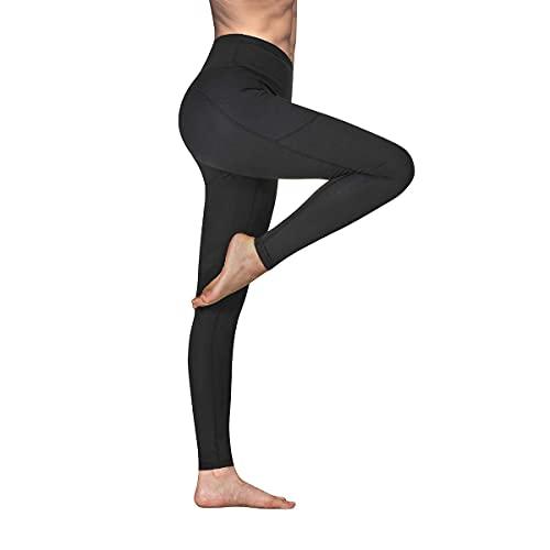 Occffy Leggings Mujer Fitness Cintura Alta Pantalones Deportivos Mallas para Running Training Estiramiento Yoga y Pilates P107 (Negro, XL)