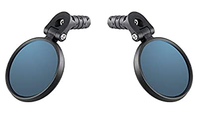 Venzo Bicycle Bike Accessories Handlebar End Mount Mirror Blue Lens 75% Anti-Glare Glass - Great for Road or Mountain Rear View Left and Right