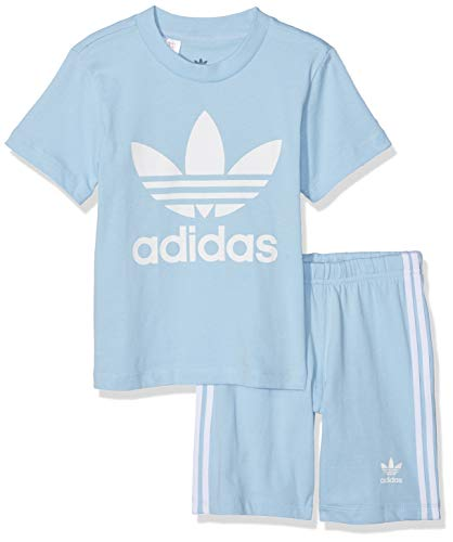 adidas Baby Trefoil Shorts Und T-Shirt Set, Top:Clear Sky/White Bottom:Clear Sky/White, 86
