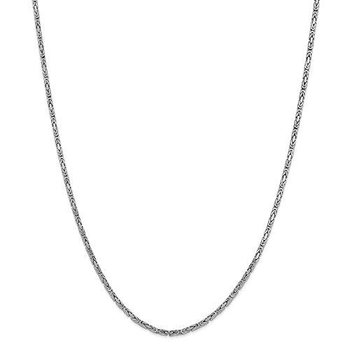 14 Karat Weißgold 2 mm Königskette Halskette für Männer Frauen