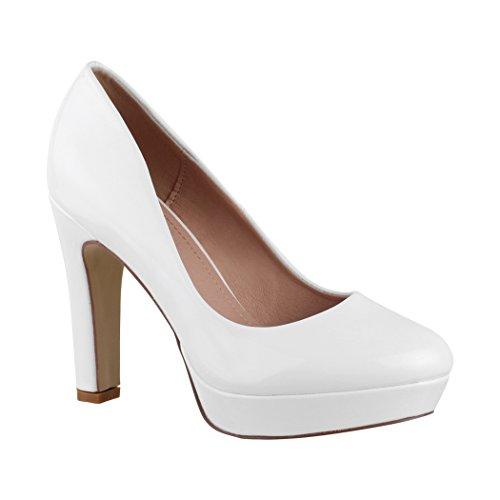 Elara Plateau Pumps Damen High Heels Stiletto Spitz Schuhe 7263-GL White-40