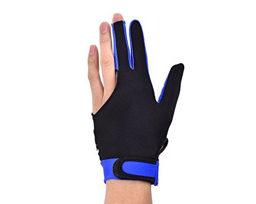 DSstyles 1 Stück Elastischen Lycra 3 Finger Pool und Billard Handschuh Mann Frau Dehnbar mit DREI Fingern Snooker Handschuh - Blau (Gr. M, kann am rechten oder linken Hand getragen Werden)