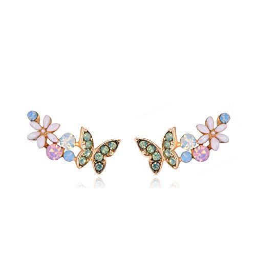 QUKE Pendientes de plata de ley 925 transparente AB cristal austríaco mariposa trepador pendientes de la oreja de la vid