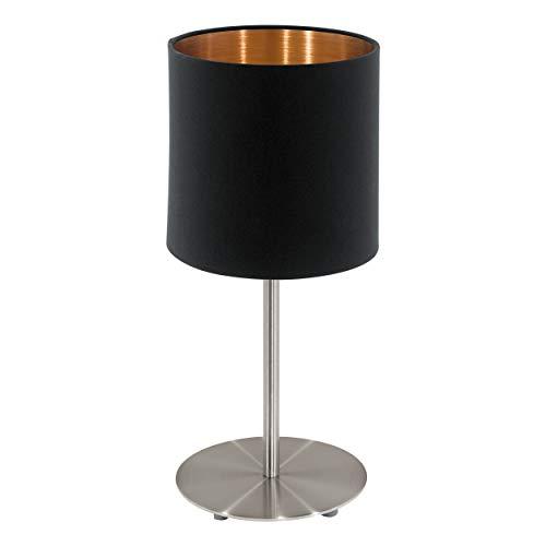 EGLO pendellamp Pasteri, 1 vlammig textiel hanglamp, hanglamp van staal en stof, kleur: nikkel mat, zwart, koper, fitting: E27, Ø: 38 cm