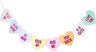 Bobee Conversation Candy Hearts Banner, eight Valentines day heart sayings pre-strung garland decorations, six feet long