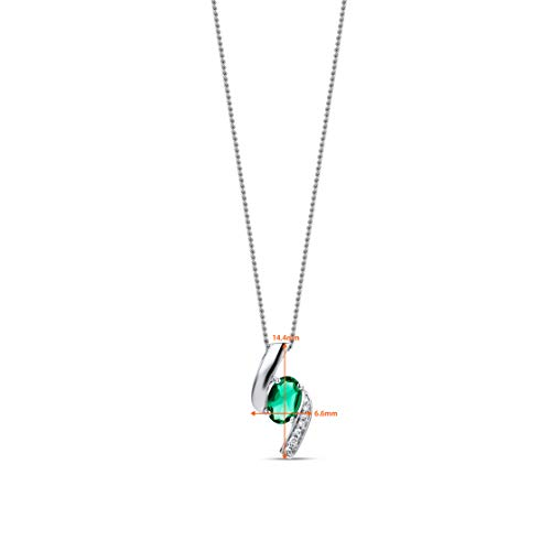 Orovi Woman Necklace/Pendant with Chain 9 ct / 375 White Gold With Diamonds Brilliant Cut and Emerald Oval Cut 0.35 ct…